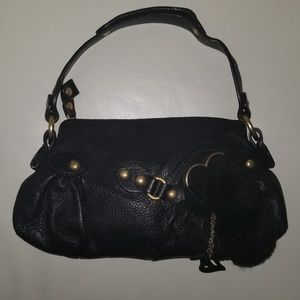 Juicy couture sm black leather pom pom bag